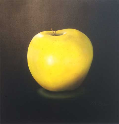 "Big Yellow Apple, Martha Bean, oil on canvas, 48"" x 48"""