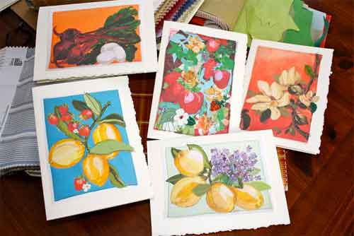 Limited edition series of quilted art cards. These cards start with a high quality print on Kona Cotton; then they are hand stitched with machine embroidered silk leaves and highlights added. Each 5 x 7 inch card is unique, signed, and numbered.