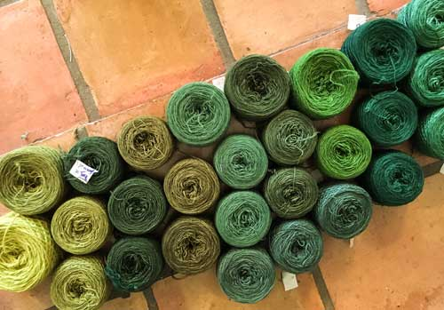 27 skeins of balled up green