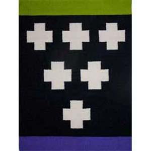 Ancient Symbol, Green, wool, dyes, cotton, $600, ©Sherri Coffey