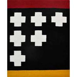 Ancient Symbol, Red, wool, dyes, cotton, $600,